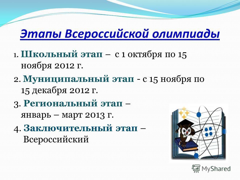 Этапы Всероссийской олимпиады 1. Школьный этап – с 1 октября по 15 ноября 2012 г. 2. Муниципальный этап - с 15 ноября по 15 декабря 2012 г. 3. Региональный этап – январь – март 2013 г. 4. Заключительный этап – Всероссийский
