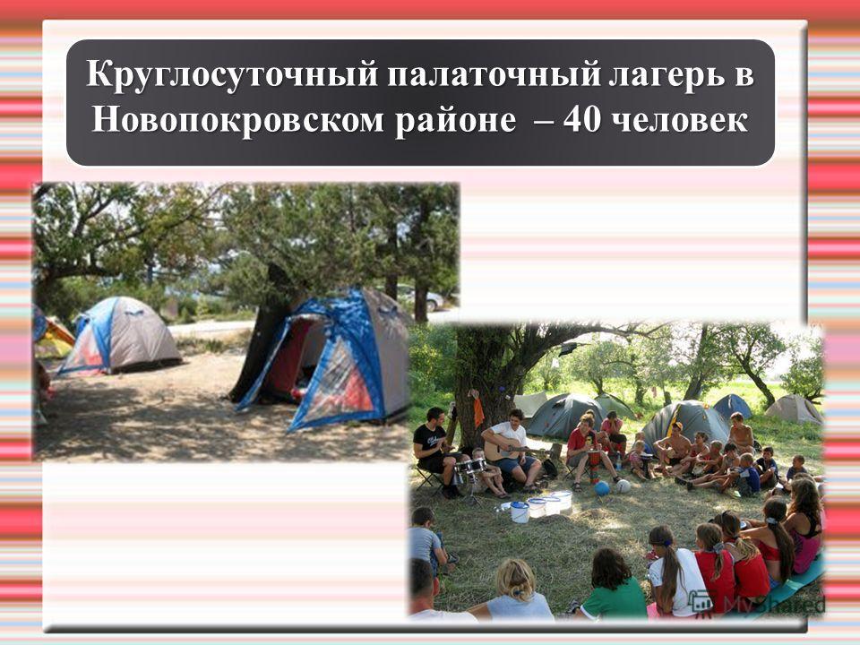 Круглосуточный палаточный лагерь в Новопокровском районе – 40 человек