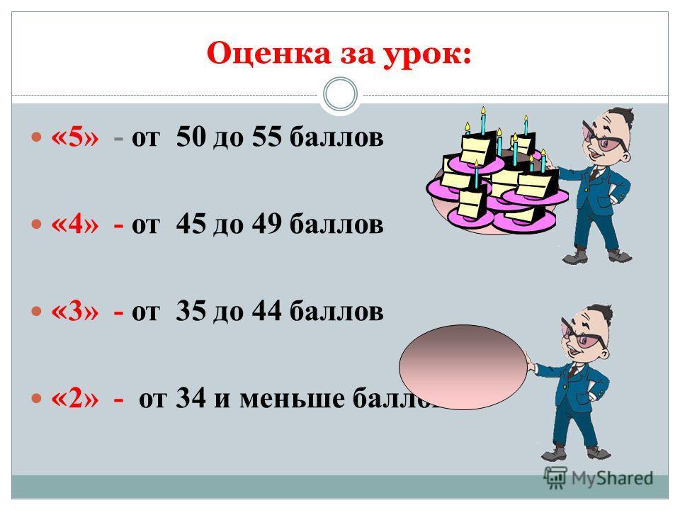 Оценка за урок: « 5» - от 50 до 55 баллов « 4» - от 45 до 49 баллов « 3» - от 35 до 44 баллов « 2» - от 34 и меньше баллов