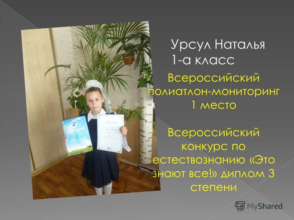 Урсул Наталья 1-а класс Всероссийский полиатлон-мониторинг 1 место Всероссийский конкурс по естествознанию «Это знают все!» диплом 3 степени