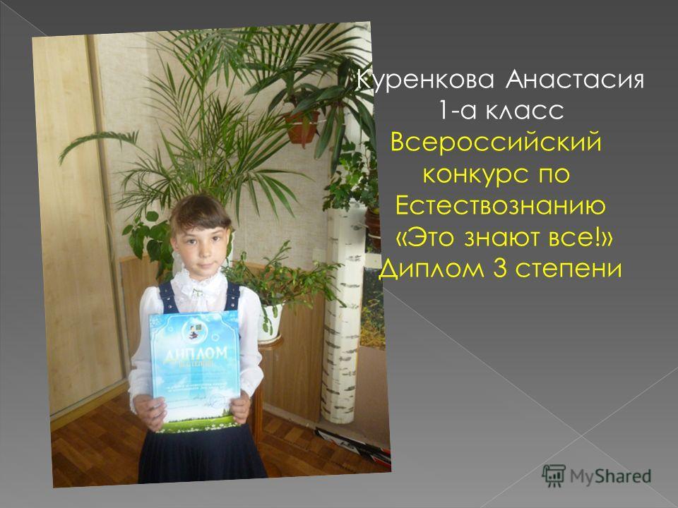 Куренкова Анастасия 1-а класс Всероссийский конкурс по Естествознанию «Это знают все!» Диплом 3 степени