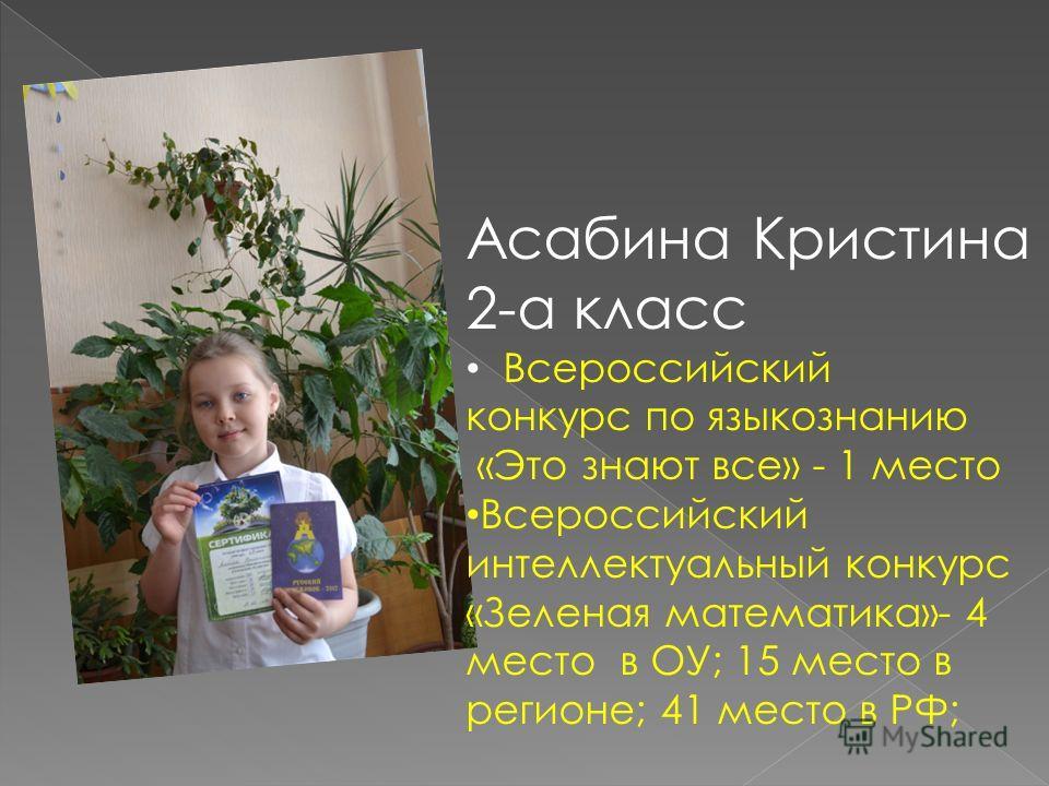 Асабина Кристина 2-а класс Всероссийский конкурс по языкознанию «Это знают все» - 1 место Всероссийский интеллектуальный конкурс «Зеленая математика»- 4 место в ОУ; 15 место в регионе; 41 место в РФ;