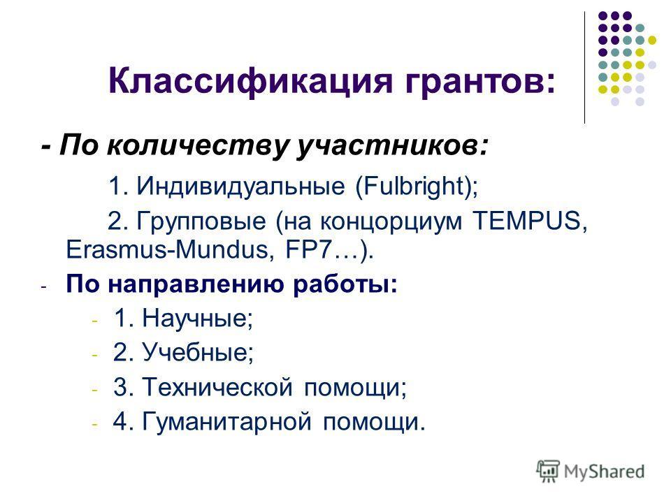Классификация грантов: - По количеству участников: 1. Индивидуальные (Fulbright); 2. Групповые (на концорциум TEMPUS, Erasmus-Mundus, FP7…). - По направлению работы: - 1. Научные; - 2. Учебные; - 3. Технической помощи; - 4. Гуманитарной помощи.