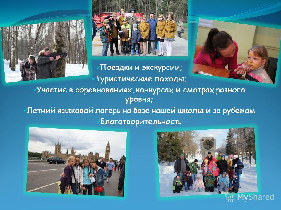 Поездки и экскурсии; Туристические походы; Участие в соревнованиях, конкурсах и смотрах разного уровня; Летний языковой лагерь на базе нашей школы и за рубежом Благотворительность