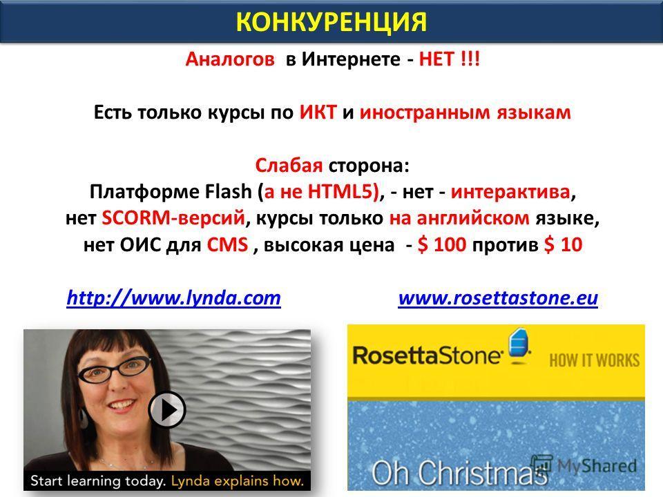 КОНКУРЕНЦИЯ Аналогов в Интернете - НЕТ !!! Есть только курсы по ИКТ и иностранным языкам Слабая сторона: Платформе Flash (а не HTML5), - нет - интерактива, нет SCORM-версий, курсы только на английском языке, нет ОИС для CMS, высокая цена - $ 100 прот