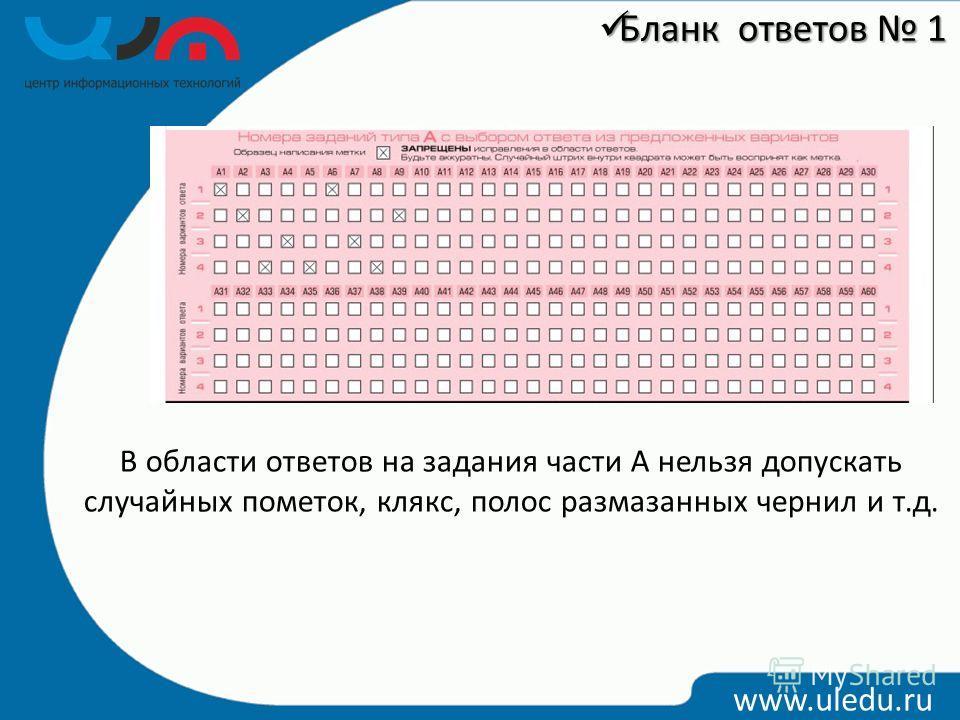 В области ответов на задания части А нельзя допускать случайных пометок, клякс, полос размазанных чернил и т.д. www.uledu.ru Бланк ответов 1 Бланк ответов 1