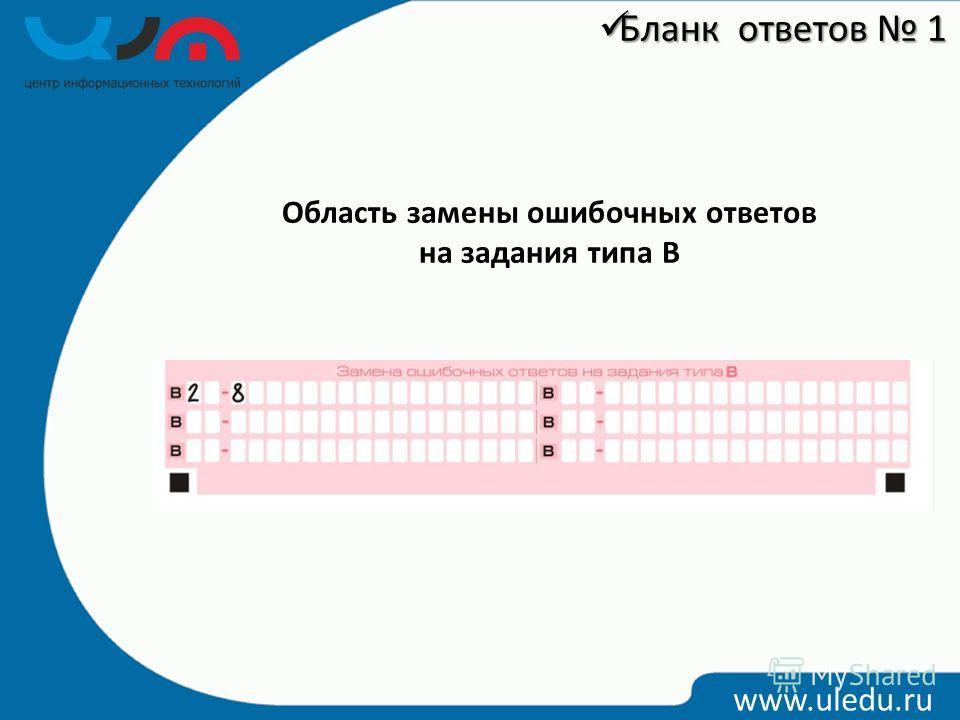 Область замены ошибочных ответов на задания типа В www.uledu.ru Бланк ответов 1 Бланк ответов 1