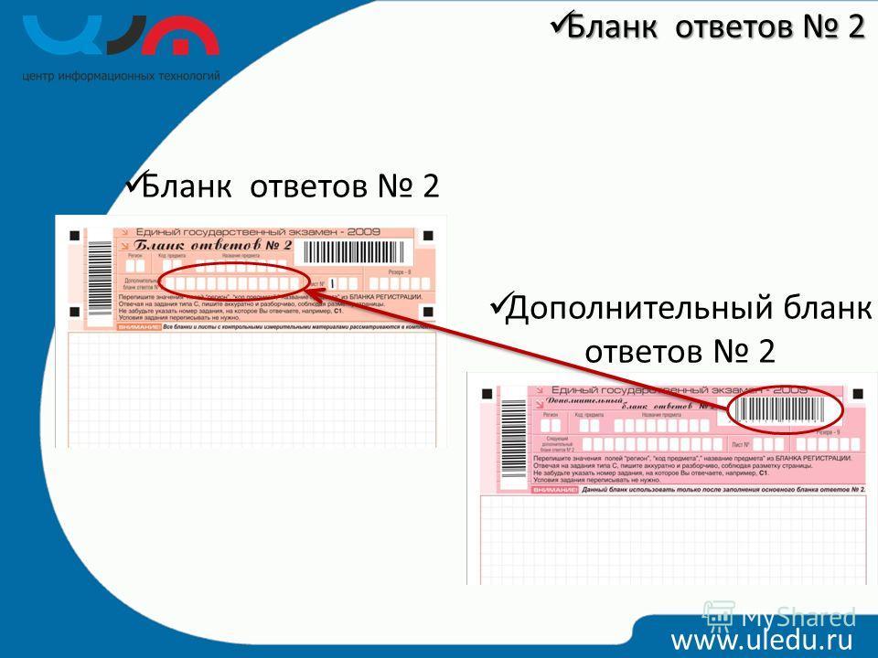 Бланк ответов 2 Дополнительный бланк ответов 2 www.uledu.ru Бланк ответов 2 Бланк ответов 2