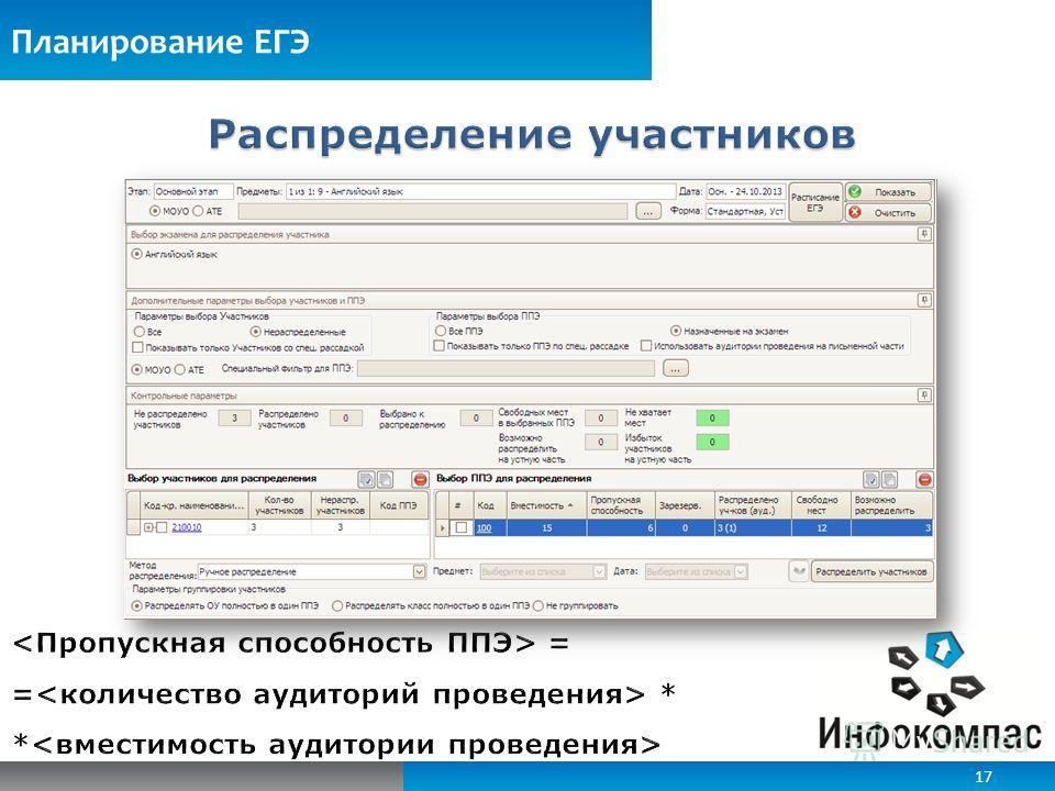 Планирование ЕГЭ 17