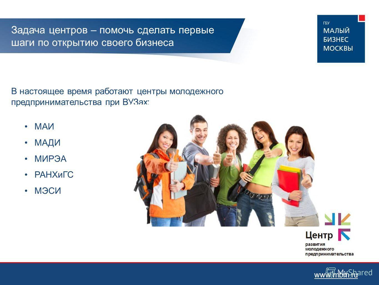 Задача центров – помочь сделать первые шаги по открытию своего бизнеса В настоящее время работают центры молодежного предпринимательства при ВУЗах: МАИ МАДИ МИРЭА РАНХиГС МЭСИ www.mbm.ru