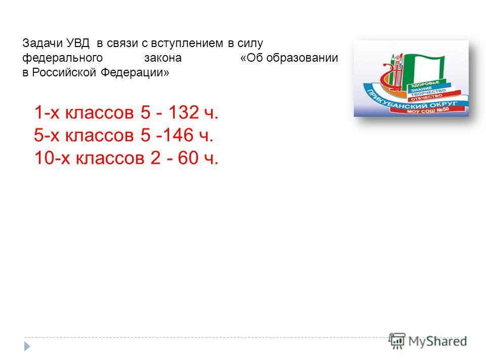 Задачи УВД в связи с вступлением в силу федерального закона «Об образовании в Российской Федерации» 1-х классов 5 - 132 ч. 5-х классов 5 -146 ч. 10-х классов 2 - 60 ч.
