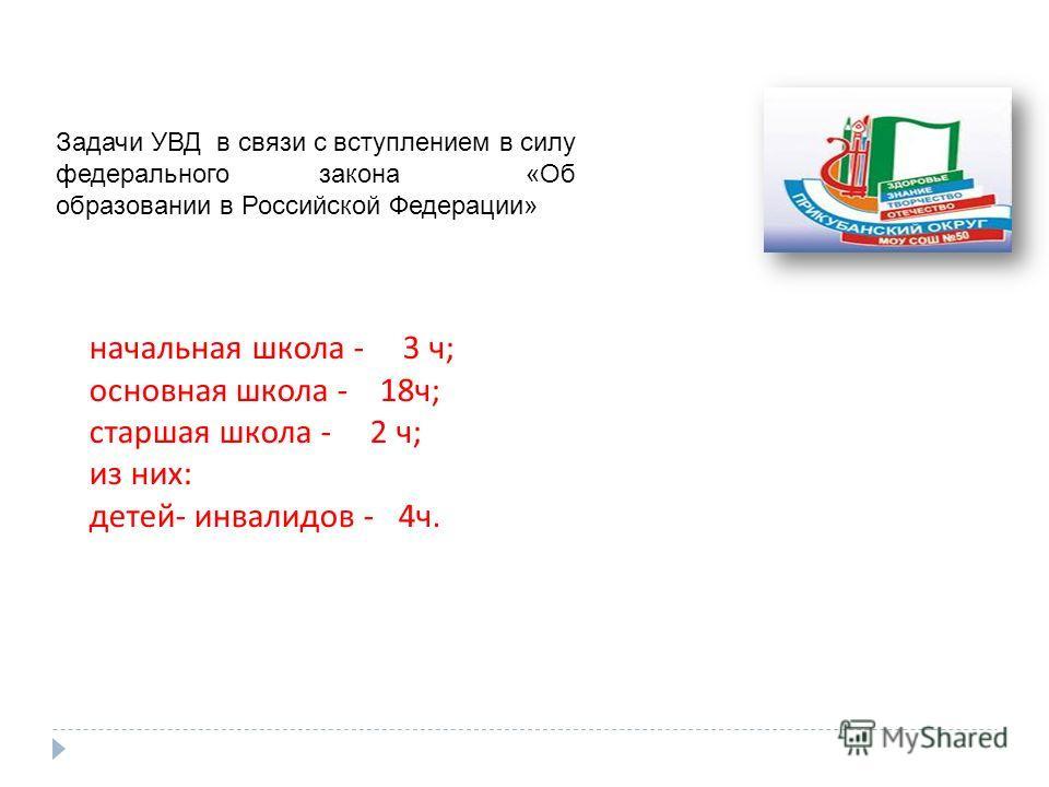 Задачи УВД в связи с вступлением в силу федерального закона «Об образовании в Российской Федерации» начальная школа - 3 ч; основная школа - 18ч; старшая школа - 2 ч; из них: детей- инвалидов - 4ч.