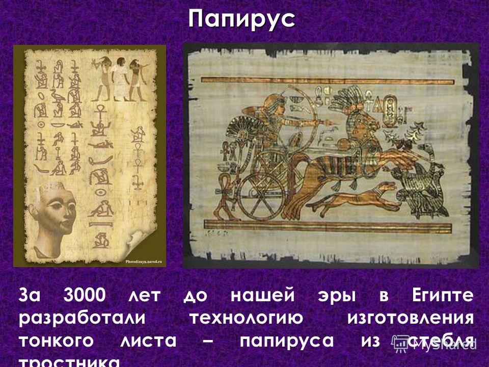 За 3000 лет до нашей эры в Египте разработали технологию изготовления тонкого листа – папируса из стебля тростника.Папирус