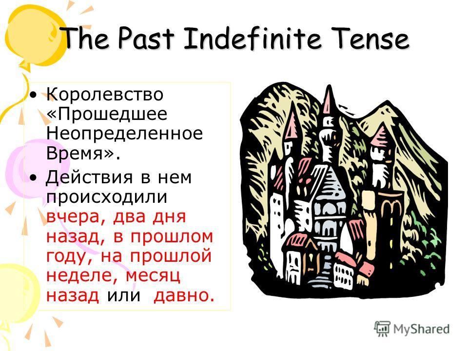 The Past Indefinite Tense Королевство «Прошедшее Неопределенное Время». Действия в нем происходили вчера, два дня назад, в прошлом году, на прошлой неделе, месяц назад или давно.