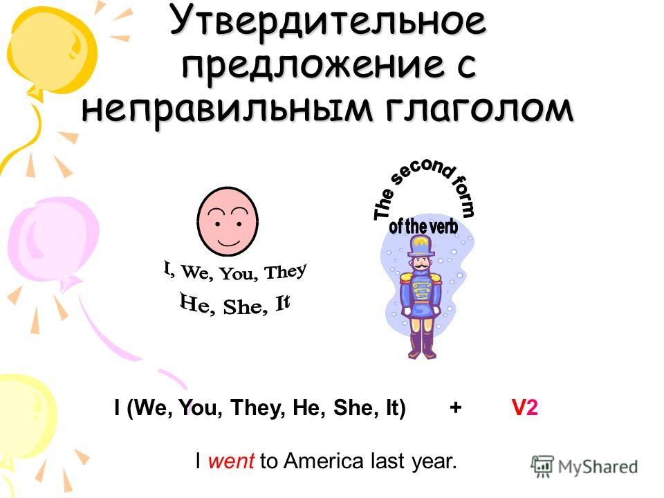 Утвердительное предложение с неправильным глаголом I (We, You, They, He, She, It) + V2 I went to America last year.