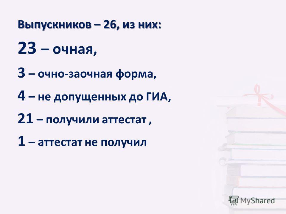 Выпускников – 26, из них: 23 – очная, 3 – очно-заочная форма, 4 – не допущенных до ГИА, 21 – получили аттестат, 1 – аттестат не получил