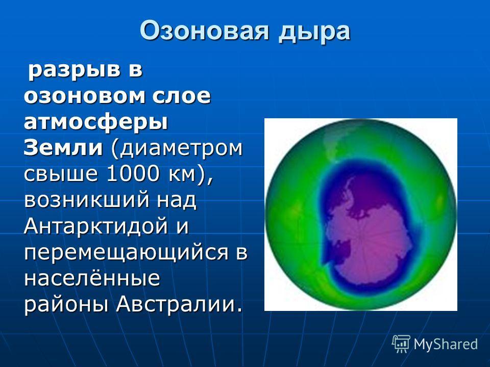 Озоновая дыра разрыв в озоновом слое атмосферы Земли (диаметром свыше 1000 км), возникший над Антарктидой и перемещающийся в населённые районы Австралии. разрыв в озоновом слое атмосферы Земли (диаметром свыше 1000 км), возникший над Антарктидой и пе