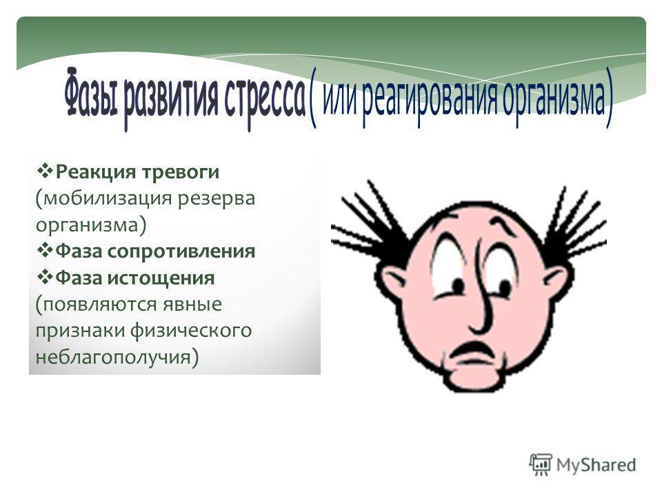 Реакция тревоги (мобилизация резерва организма) Фаза сопротивления Фаза истощения (появляются явные признаки физического неблагополучия)