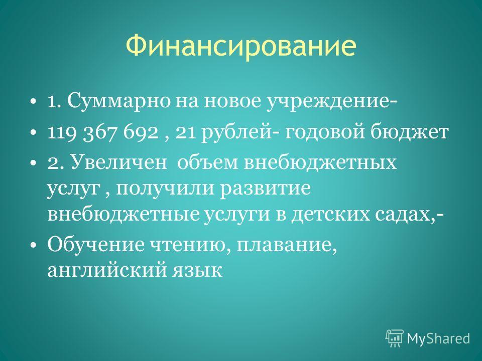 Финансирование 1. Суммарно на новое учреждение- 119 367 692, 21 рублей- годовой бюджет 2. Увеличен объем внебюджетных услуг, получили развитие внебюджетные услуги в детских садах,- Обучение чтению, плавание, английский язык