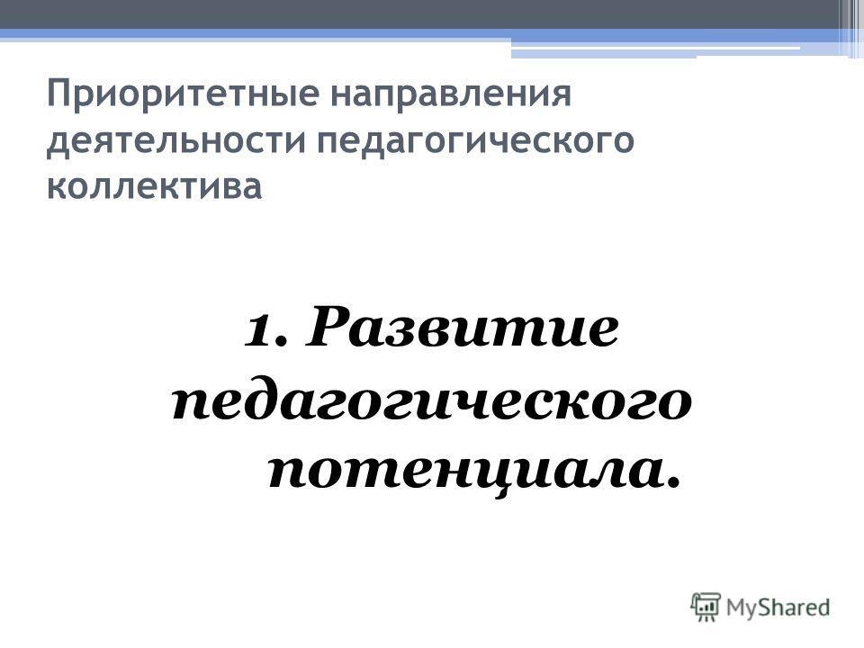 Приоритетные направления деятельности педагогического коллектива 1. Развитие педагогического потенциала.