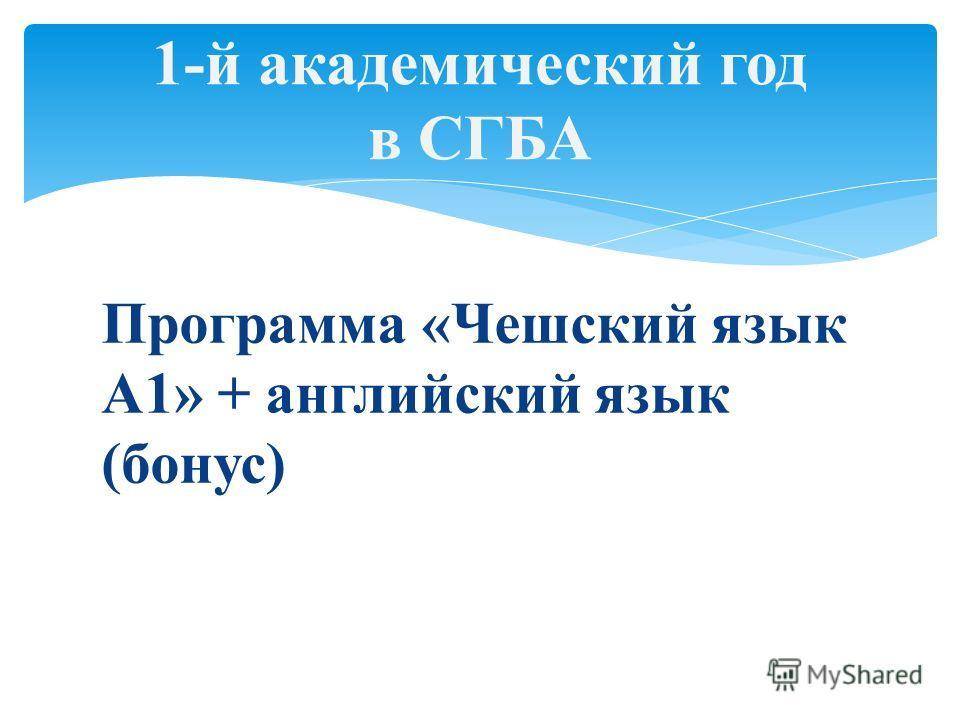 Программа «Чешский язык А1» + английский язык (бонус) 1-й академический год в СГБА