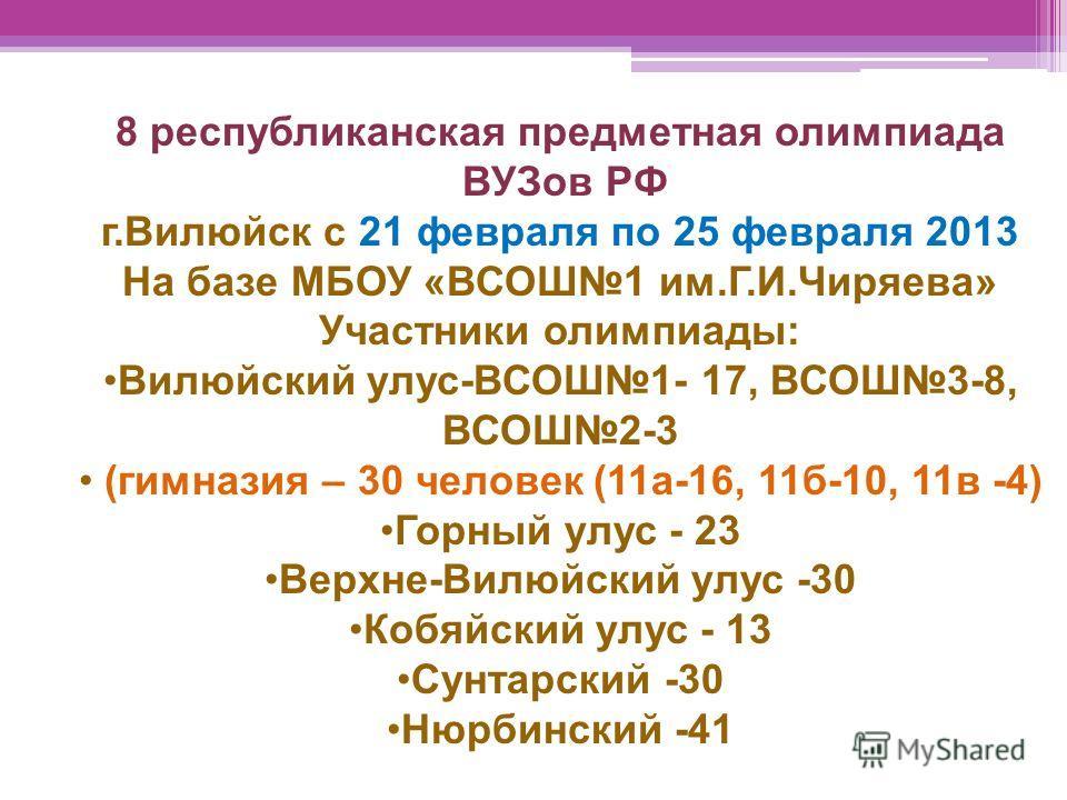 8 республиканская предметная олимпиада ВУЗов РФ г.Вилюйск с 21 февраля по 25 февраля 2013 На базе МБОУ «ВСОШ1 им.Г.И.Чиряева» Участники олимпиады: Вилюйский улус-ВСОШ1- 17, ВСОШ3-8, ВСОШ2-3 (гимназия – 30 человек (11а-16, 11б-10, 11в -4) Горный улус