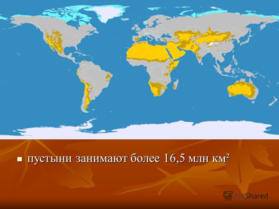 пустыни занимают более 16,5 млн км² пустыни занимают более 16,5 млн км²
