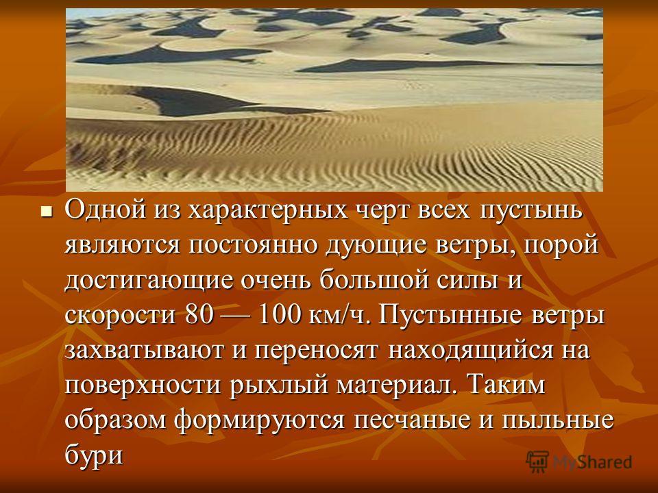 Одной из характерных черт всех пустынь являются постоянно дующие ветры, порой достигающие очень большой силы и скорости 80 100 км/ч. Пустынные ветры захватывают и переносят находящийся на поверхности рыхлый материал. Таким образом формируются песчаны