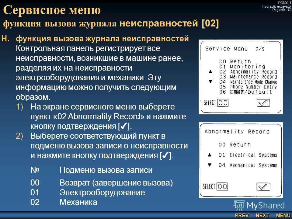 PREV NEXT MENU PC300-7 hydraulic excavator Page 49 - 70 Сервисное меню функция вызова журнала неисправностей [02] H. H.функция вызова журнала неисправностей Контрольная панель регистрирует все неисправности, возникшие в машине ранее, разделяя их на н
