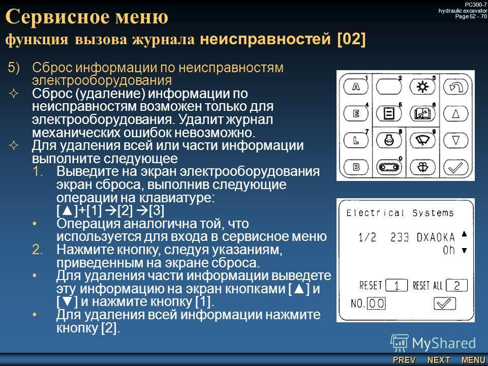 PREV NEXT MENU PC300-7 hydraulic excavator Page 52 - 70 Сервисное меню функция вызова журнала неисправностей [02] 5) 5)Сброс информации по неисправностям электрооборудования Сброс (удаление) информации по неисправностям возможен только для электрообо