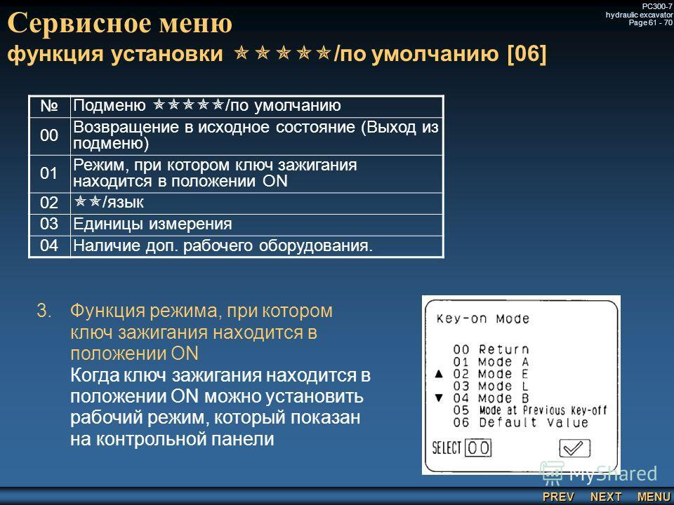 PREV NEXT MENU PC300-7 hydraulic excavator Page 61 - 70 Сервисное меню функция установки /по умолчанию [06] Подменю /по умолчанию 00 Возвращение в исходное состояние (Выход из подменю) 01 Режим, при котором ключ зажигания находится в положении ON 02