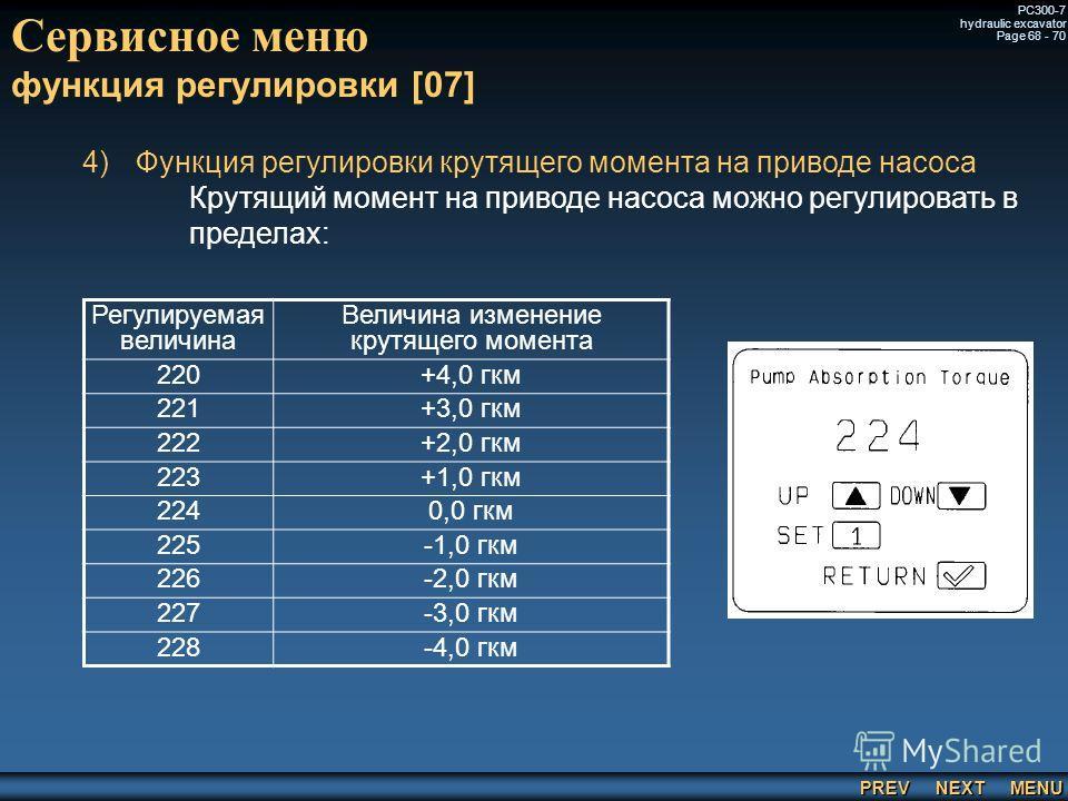 PREV NEXT MENU PC300-7 hydraulic excavator Page 68 - 70 Сервисное меню функция регулировки [07] 4) 4)Функция регулировки крутящего момента на приводе насоса Крутящий момент на приводе насоса можно регулировать в пределах: Регулируемая величина Величи
