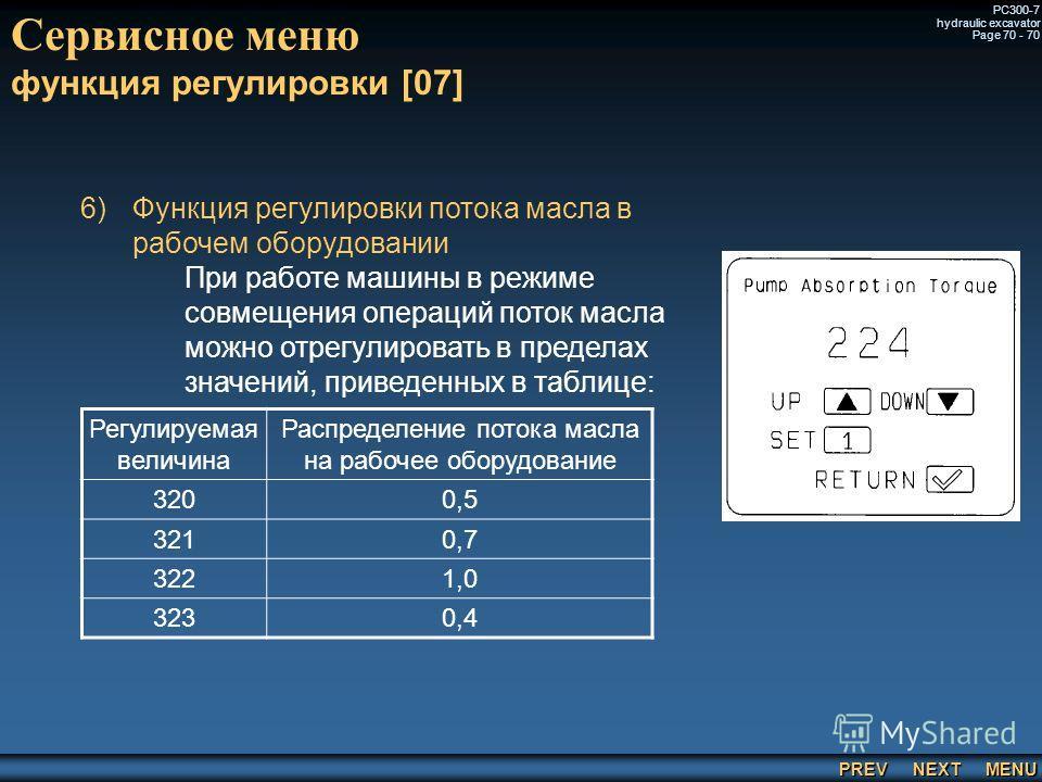 PREV NEXT MENU PC300-7 hydraulic excavator Page 70 - 70 Сервисное меню функция регулировки [07] 6) 6)Функция регулировки потока масла в рабочем оборудовании При работе машины в режиме совмещения операций поток масла можно отрегулировать в пределах зн