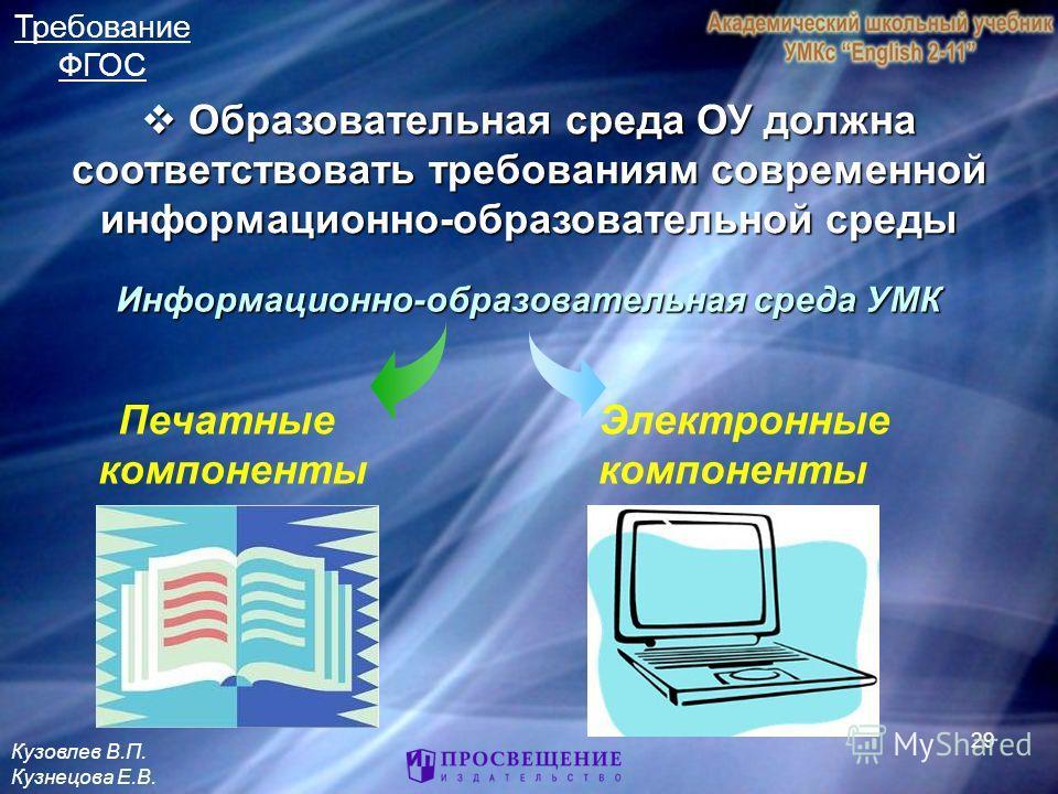 29 Информационно-образовательная среда УМК Электронные компоненты Печатные компоненты Образовательная среда ОУ должна соответствовать требованиям современной информационно-образовательной среды Образовательная среда ОУ должна соответствовать требован