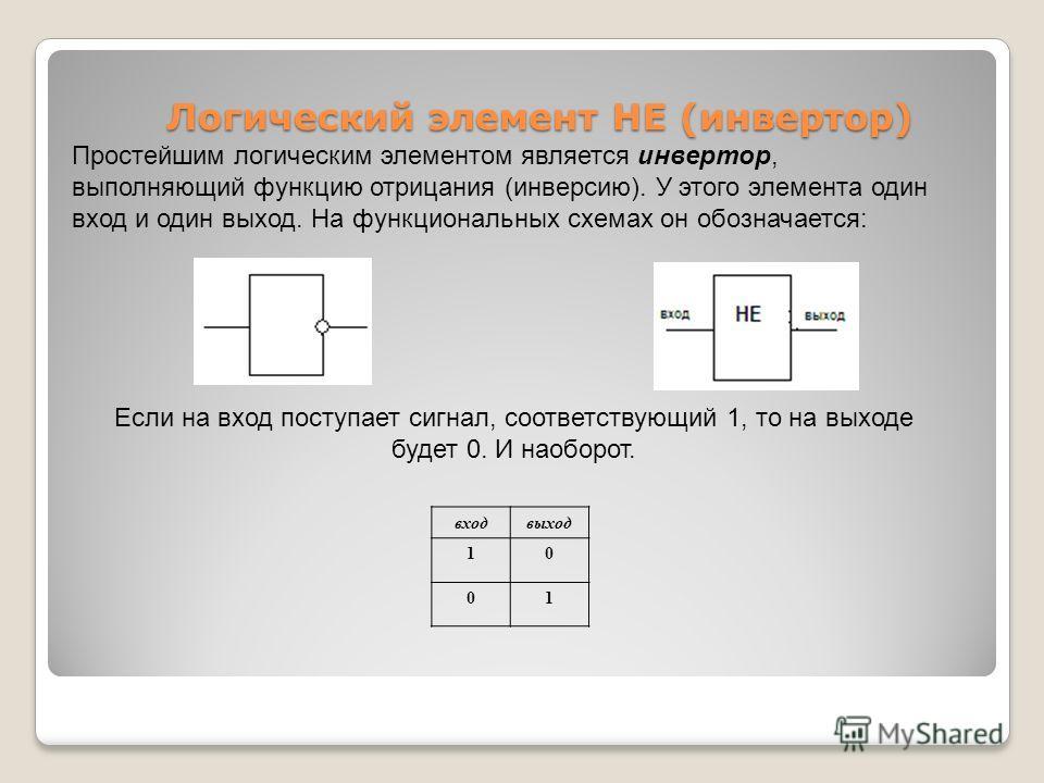 Логический элемент НЕ (инвертор) Логический элемент НЕ (инвертор) Простейшим логическим элементом является инвертор, выполняющий функцию отрицания (инверсию). У этого элемента один вход и один выход. На функциональных схемах он обозначается: входвыхо