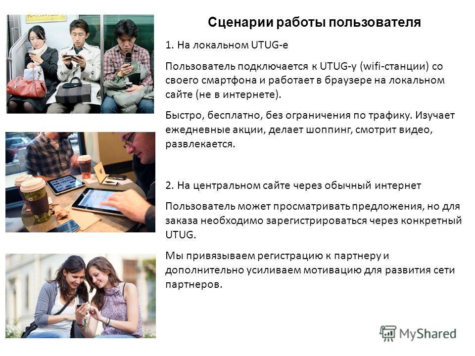 Сценарии работы пользователя 1. На локальном UTUG-е Пользователь подключается к UTUG-у (wifi-станции) со своего смартфона и работает в браузере на локальном сайте (не в интернете). Быстро, бесплатно, без ограничения по трафику. Изучает ежедневные акц