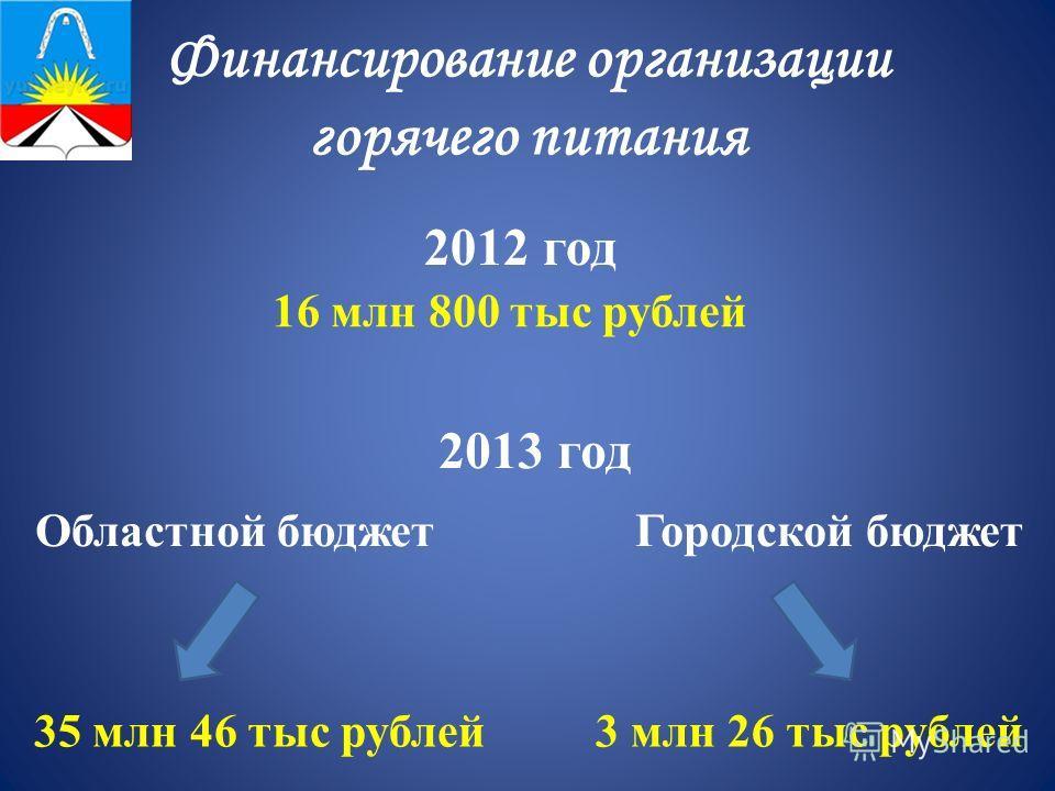 Финансирование организации горячего питания 16 млн 800 тыс рублей 2012 год 2013 год Областной бюджетГородской бюджет 35 млн 46 тыс рублей3 млн 26 тыс рублей