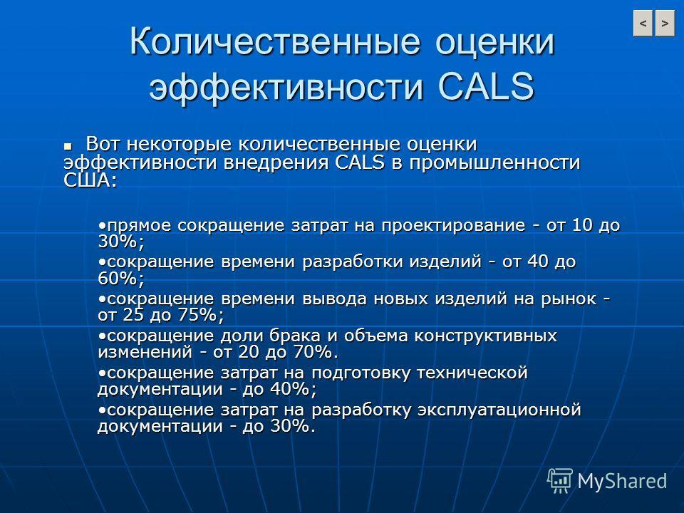 Количественные оценки эффективности CALS Вот некоторые количественные оценки эффективности внедрения CALS в промышленности США: Вот некоторые количественные оценки эффективности внедрения CALS в промышленности США: прямое сокращение затрат на проекти