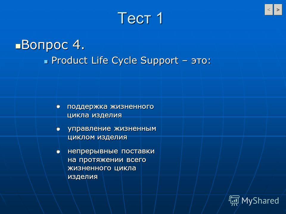 Тест 1 Вопрос 4. Вопрос 4. Product Life Cycle Support – это: Product Life Cycle Support – это: поддержка жизненного цикла изделия управление жизненным циклом изделия непрерывные поставки на протяжении всего жизненного цикла изделия