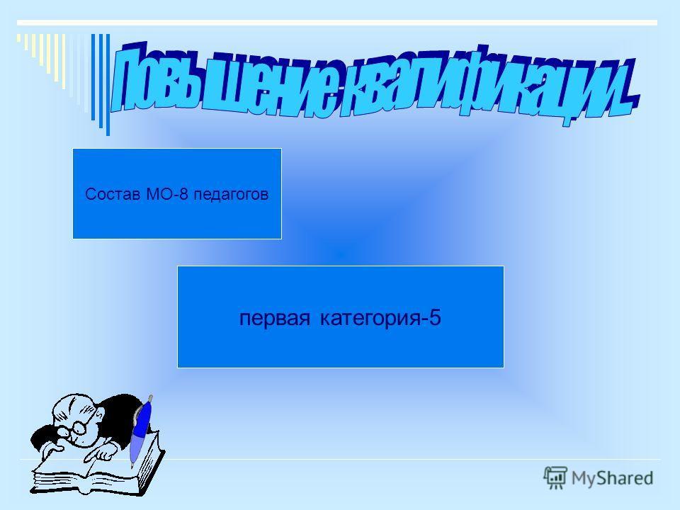 Состав МО-8 педагогов первая категория-5