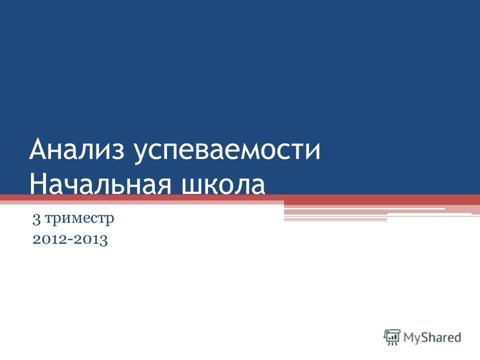 Анализ успеваемости Начальная школа 3 триместр 2012-2013