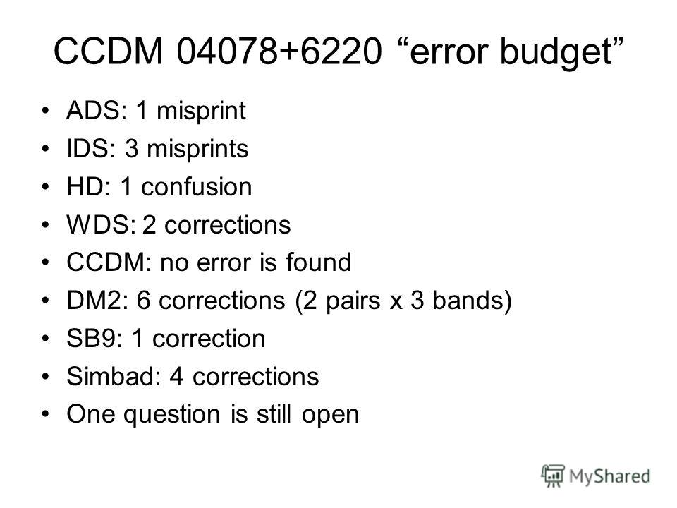 CCDM 04078+6220 error budget ADS: 1 misprint IDS: 3 misprints HD: 1 confusion WDS: 2 corrections CCDM: no error is found DM2: 6 corrections (2 pairs x 3 bands) SB9: 1 correction Simbad: 4 corrections One question is still open