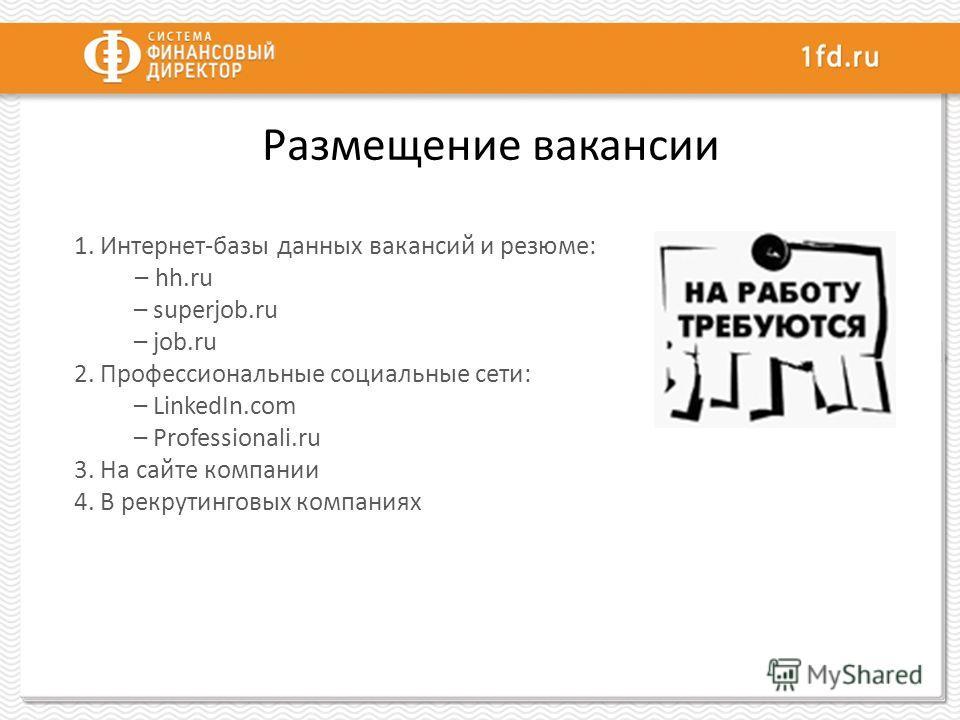 Размещение вакансии 1. Интернет-базы данных вакансий и резюме: – hh.ru – superjob.ru – job.ru 2. Профессиональные социальные сети: – LinkedIn.com – Professionali.ru 3. На сайте компании 4. В рекрутинговых компаниях