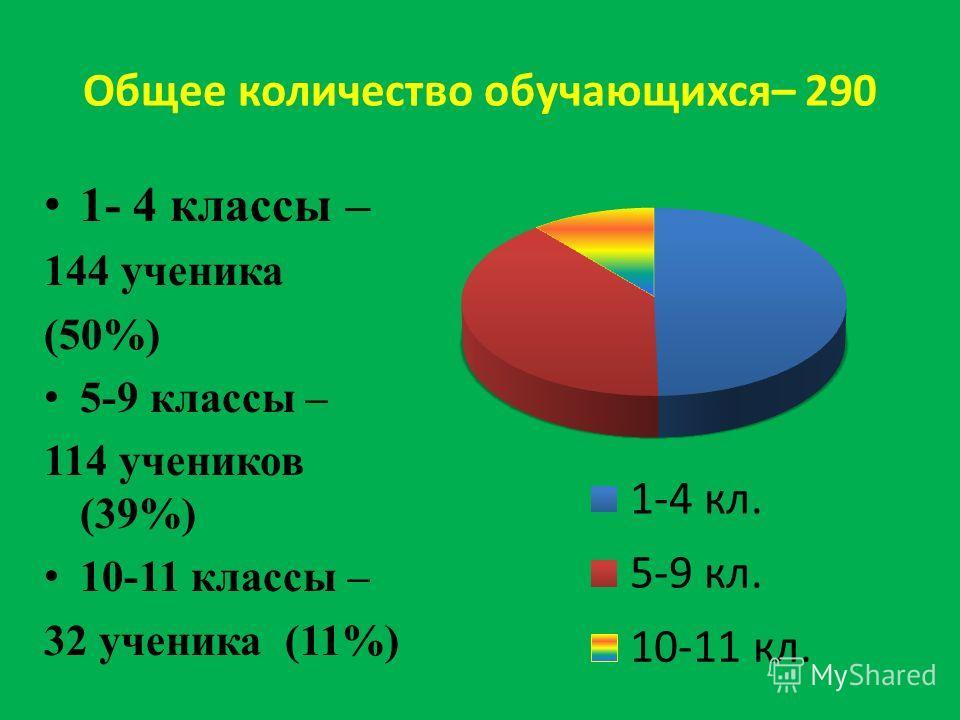 Общее количество обучающихся– 290 1- 4 классы – 144 ученика (50%) 5-9 классы – 114 учеников (39%) 10-11 классы – 32 ученика (11%)
