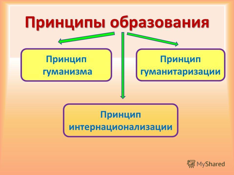 Принципы образования Принцип гуманитаризации Принцип интернационализации Принцип гуманизма