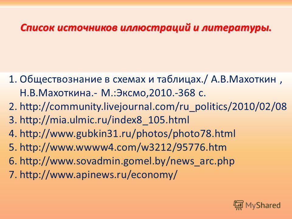 Список источников иллюстраций и литературы. 1.Обществознание в схемах и таблицах./ А.В.Махоткин, Н.В.Махоткина.- М.:Эксмо,2010.-368 с. 2.http://community.livejournal.com/ru_politics/2010/02/08 3.http://mia.ulmic.ru/index8_105.html 4.http://www.gubkin