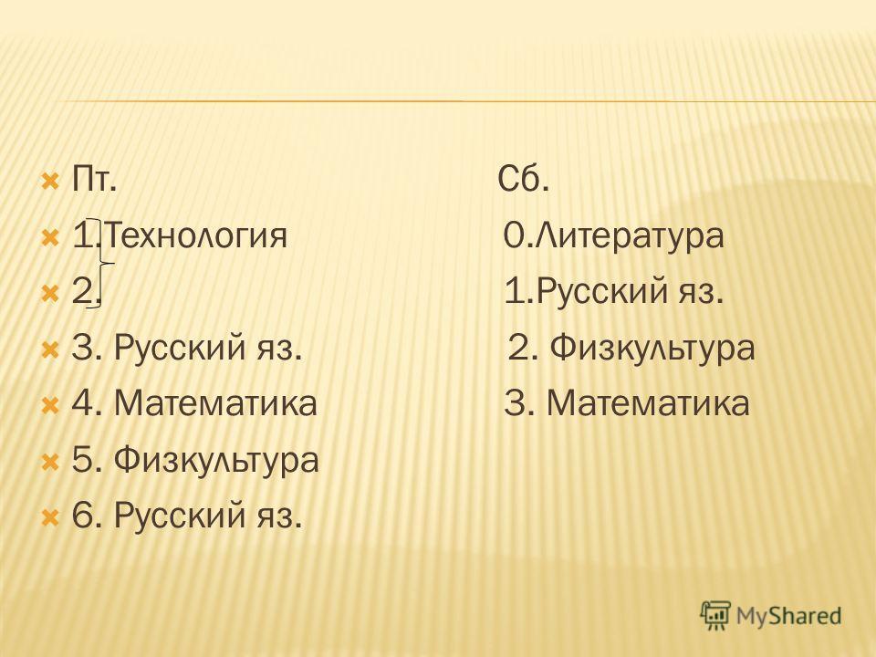 Пт. Сб. 1.Технология 0.Литература 2. 1.Русский яз. 3. Русский яз. 2. Физкультура 4. Математика 3. Математика 5. Физкультура 6. Русский яз.