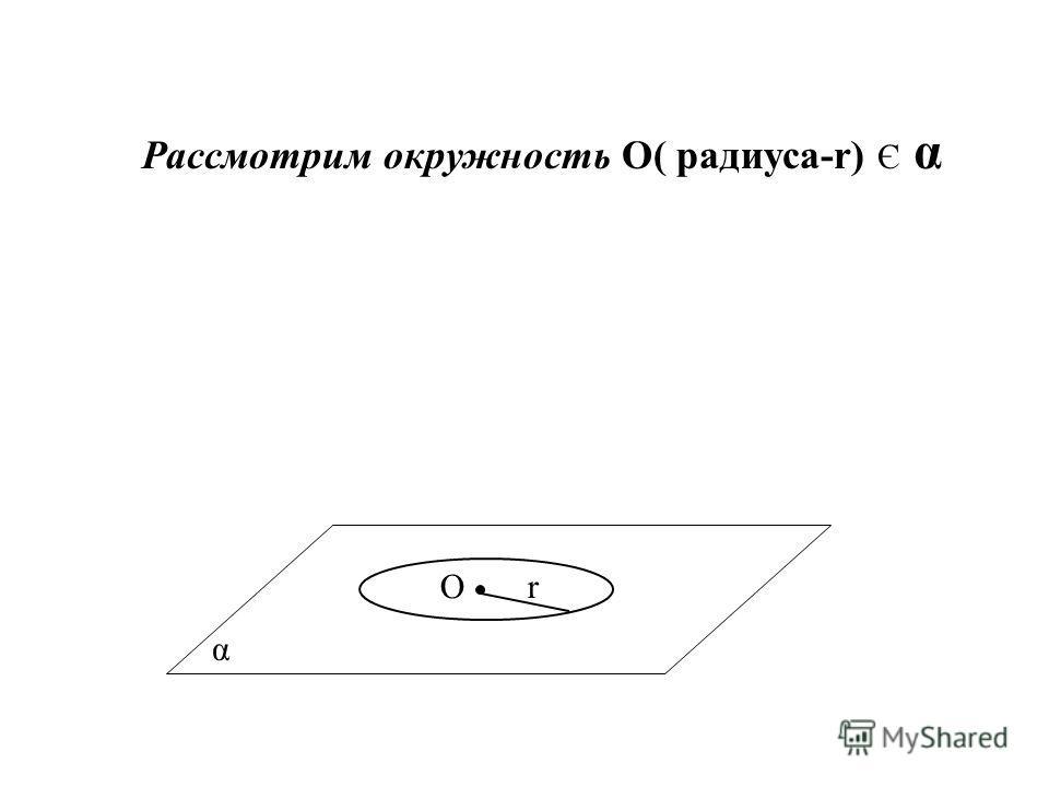α Рассмотрим окружность О( радиуса-r) Є α Оr