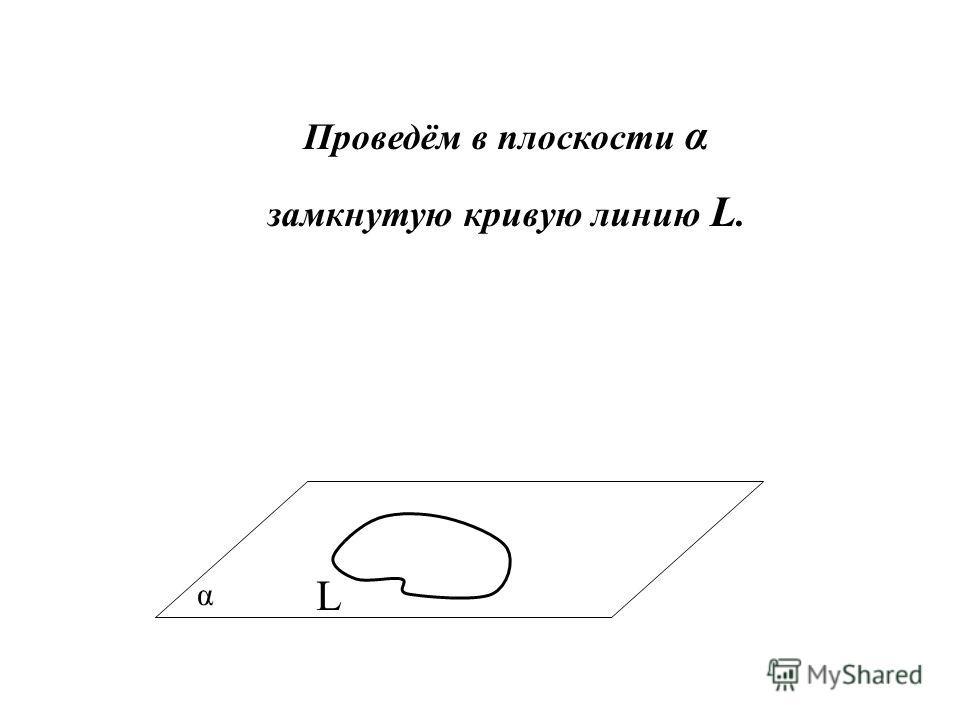 α Проведём в плоскости α замкнутую кривую линию L. L