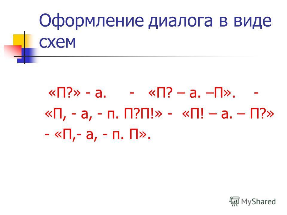 Оформление диалога в виде схем «П?» - а. - «П? – а. –П». - «П, - а, - п. П?П!» - «П! – а. – П?» - «П,- а, - п. П».